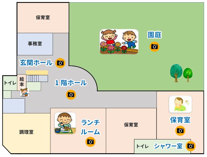 1階マップ、園庭、玄関ホール、1階ホール、ランチルーム、シャワー室、保育室