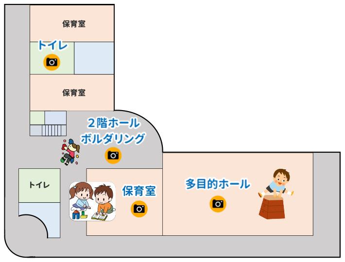 2階マップ、トイレ、2階ホールボルダリング、保育室、多目的ホール